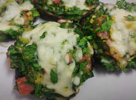 Spinach and Sea Moss Stuffed Portobello Mushrooms