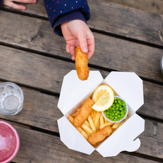 kids fish and chips with smoothies from