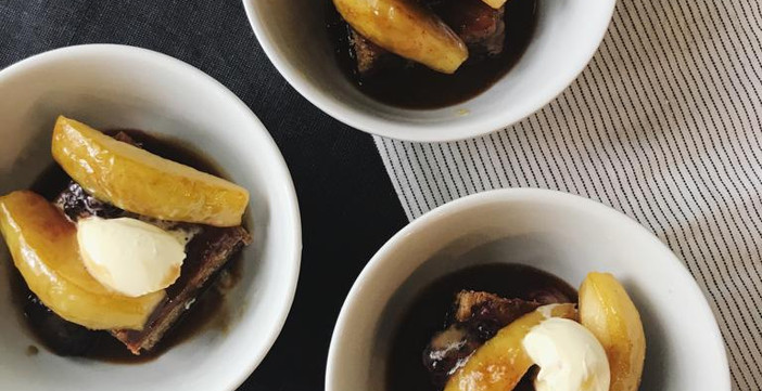 Sticky Toffee Pudding with Spiced Pear, Clotted Cream