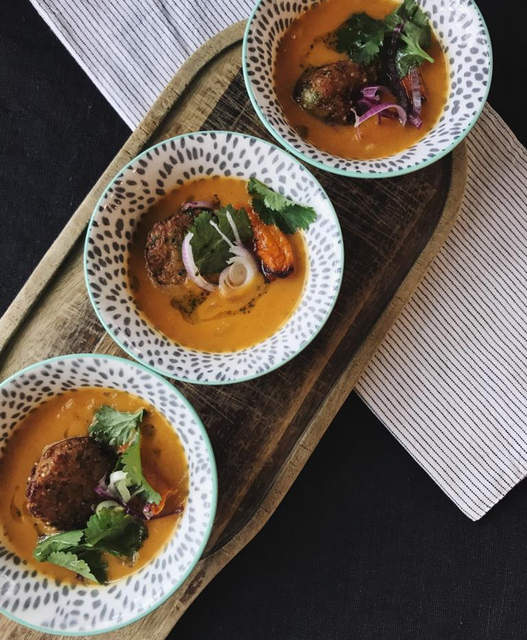 Caramelized Butternut Squash & Coconut Stew  with Cauliflower Fritters & Coriander