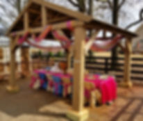 Miniature horse and tent with chairs