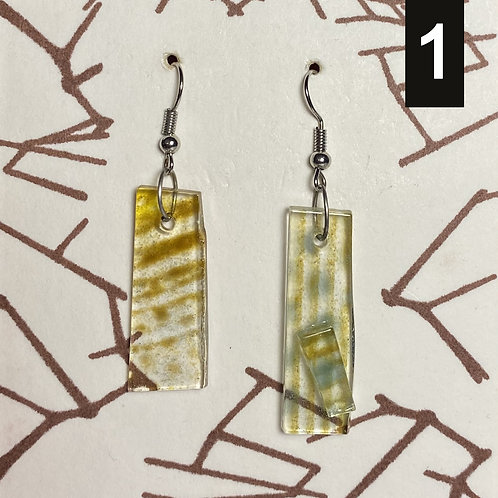 Yellow + Blue Dusted Glass Earrings