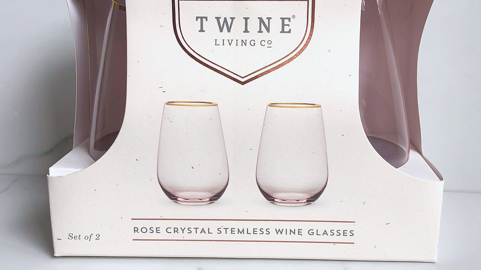 Rose Crystal Stemless Wine Glass
