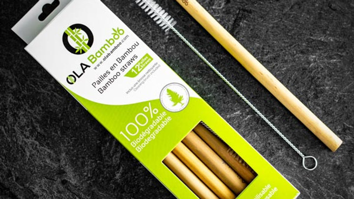 Reusable Bamboo Straw 6 Pack + Brush