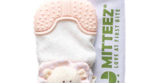 Organic Teething Mitty Pea Bear Pink