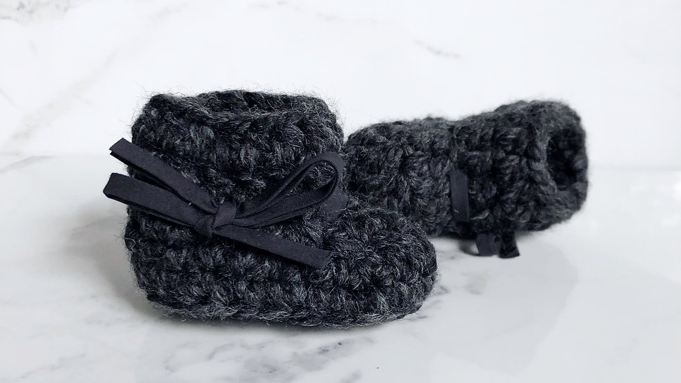 Slippers 0-3 mo - Charcoal