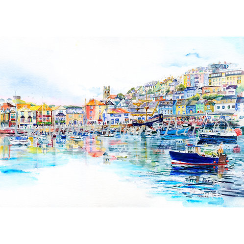 Icon view of Brixham Harbour painted originally by Lynne sitting on the Harbourside.