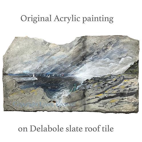 Slate Art- Time and Tide Bell - Brixham - Lynne Peets Artist