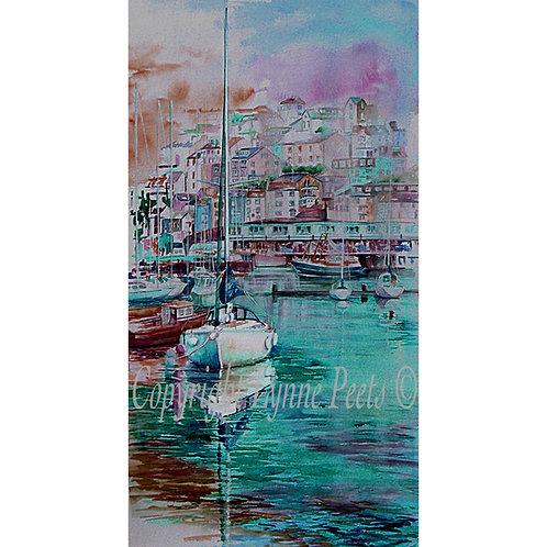 Lynne Peets Brixham Artist - deep turquoise shades, harbour scene.
