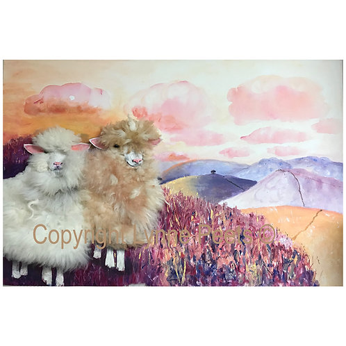 Lynne Peets Brixham Artist - Sheep made with real fleece.