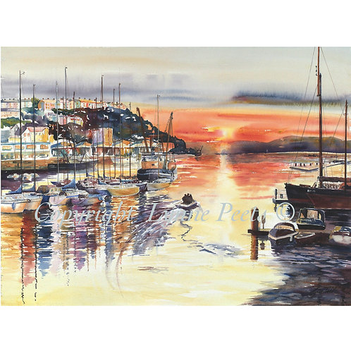 Brixham sunset print from watercolour by Lynne Peets
