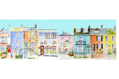 Lynne Peets Brixham Artist - A street of cottages. Each cottage from a street in Brixham.