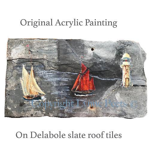 Slate Art - Heritage Trawlers - Brixham - Lynne Peets Artist