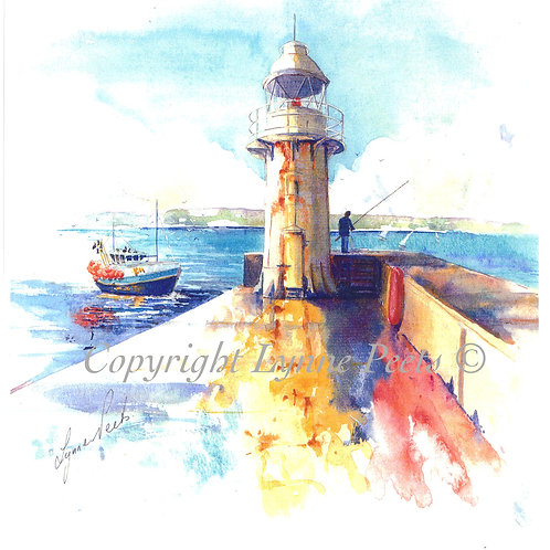 Lynne Peets Brixham Artist - watercolour light house at Brixham Breakwater