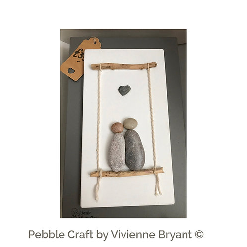 Pebble Couple on a swing - Heart Art - Wall Art with stones