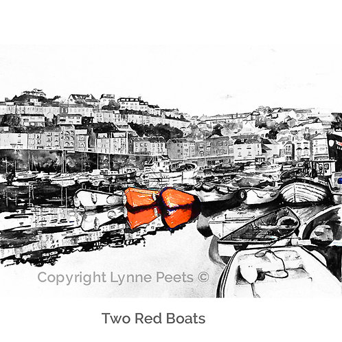 Brixham - Black & White - Harbour watercolours - Lynne Peets Artist