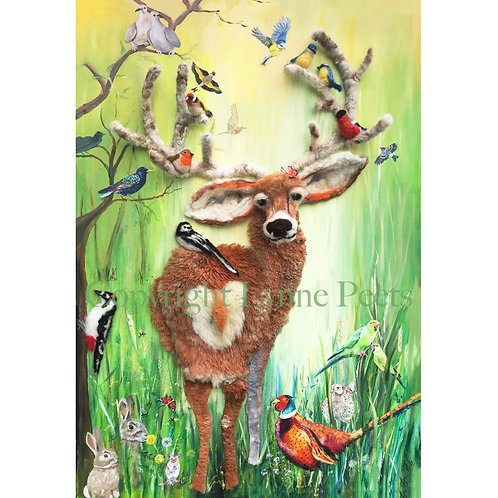 Needle felting collage - Garden wild life