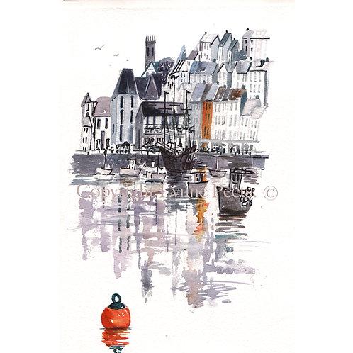 Black and Orange Brixham Harbour watercolour - Lynne Peets
