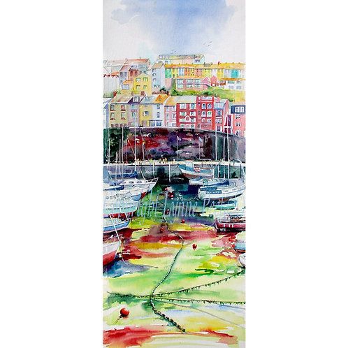 Lynne Peets Brixham Artist - Colourful harbour scene at low tide.