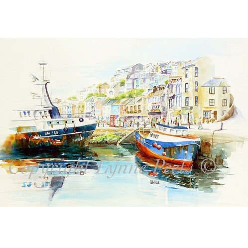 Lynne Peets Brixham Artist - Harbour scene with fishing boats
