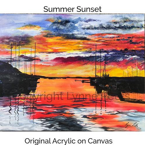 Acrylic Sunset on canvas - Lynne Peets