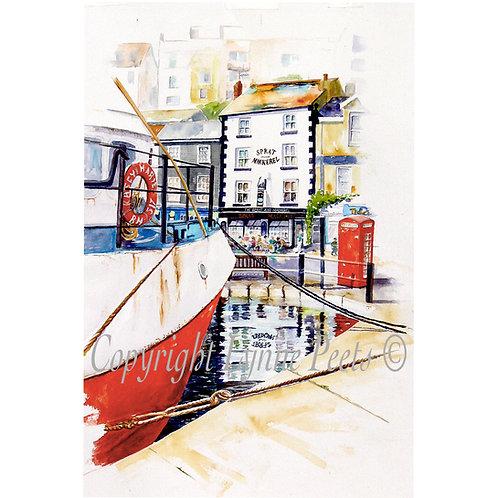 Lynne Peets Brixham Artist - Pub, telephone box & fishing Boat scene