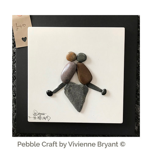 Pebble Couple on Heart - Heart Pebble art - Wall Art with pebbles