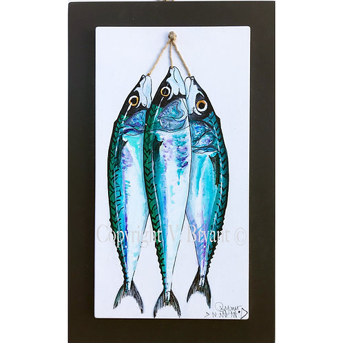 Hand Painted Mackerel on double board. By Vivienne Bryant Brixham