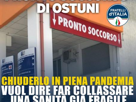 PRONTO SOCCORSO OSTUNI, CAROLI (FDI): IL DG ASL BR SCONGIURI LA CHIUSURA!