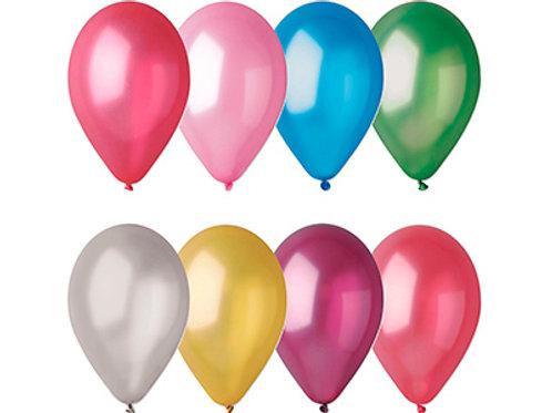 Латексные шары круглые без рисунка металлик ассорти 100 шт