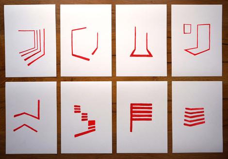 Prototipos acrylic on paper, 21 x 14.8 cm each