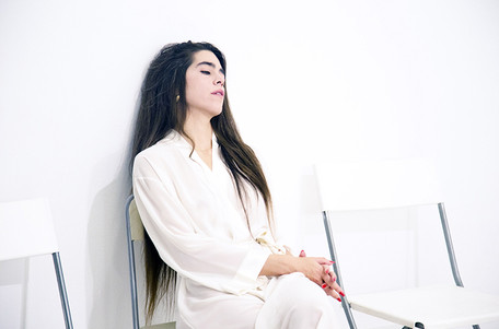 Waiting room with waiting person performance La Grey, Tarragona 2016
