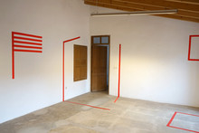 Prototipos installation, acrylic on paper and tape on wall 2018  'Prototypes' is an installation that reproduces on the walls of Sa Viqueria de Campos a series of geometric figures previously drawn freehand on paper. These prototypes, made in an intuitive way, propose a series of abstract figures that will later be recreated in three dimensions.