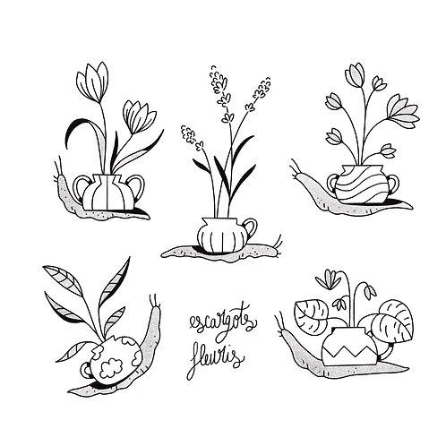 Escargots fleuris