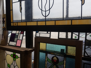 There are a variety of stained glass panels available and ready to go at the studio