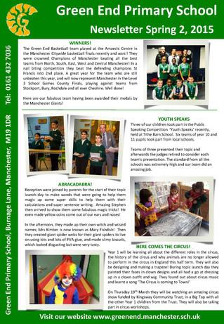 Newsletter - Spring 2, 2015