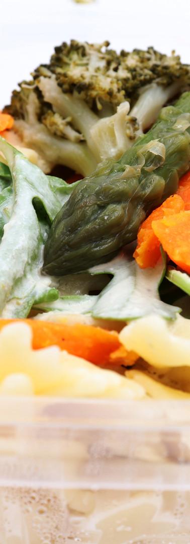 Farfalle crème d'asperges et carottes
