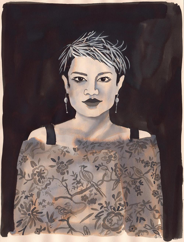 Gill Button 韩枫肖像 Portrait of Han Feng  2015 纸本水墨 Ink wash on paper  38×28 cm