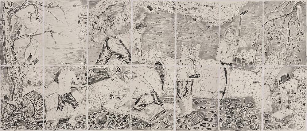 《猎鲸图》Whale Hunting 2016 纸本水墨 Ink wash on paper 196×455 cm