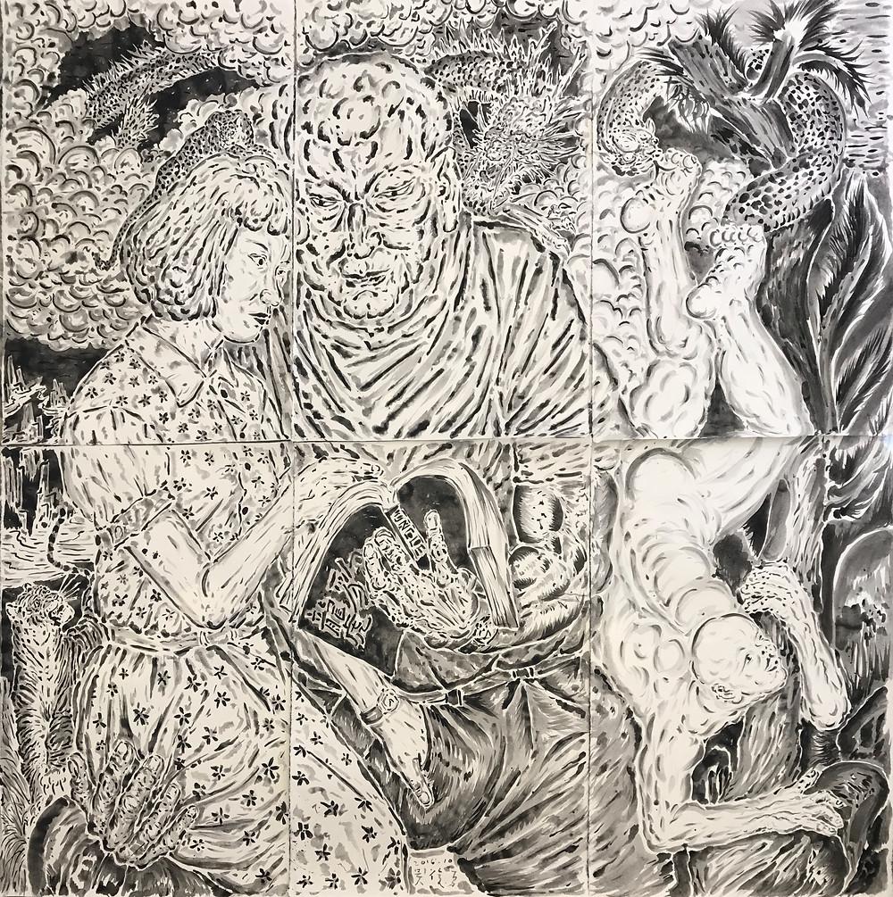 《龙虎豹》Dragon, Tiger, Leopard 2016 纸本水墨 Ink wash on paper 196×195 cm