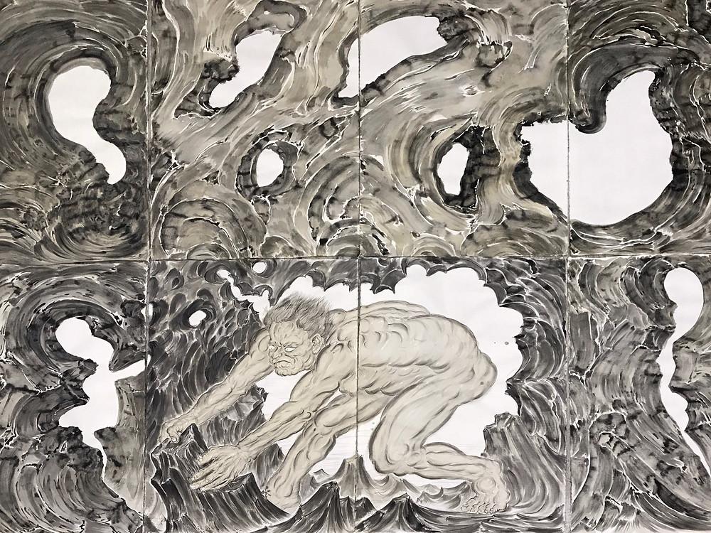 《移石图》Shifting Rocks 2017 纸本水墨 Ink wash on paper 196×260 cm