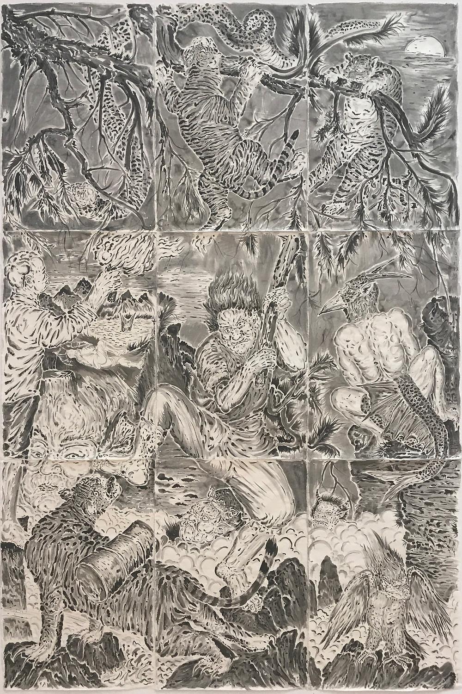 《帝国角落》Corner of the Empire 2017 纸本水墨 Ink wash on paper 294×195 cm