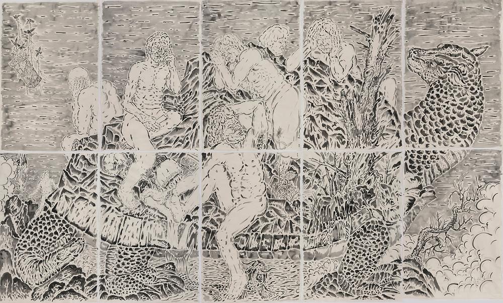 《东山七士》Seven Heroes of East Hill 2016 纸本水墨 Ink wash on paper 196×325 cm
