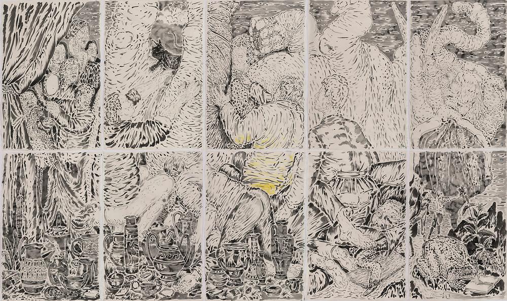 《瓷屋卧象》The Supine Elephant in a House of Porcelain 2016 纸本水墨 Ink wash on paper 196×325 cm