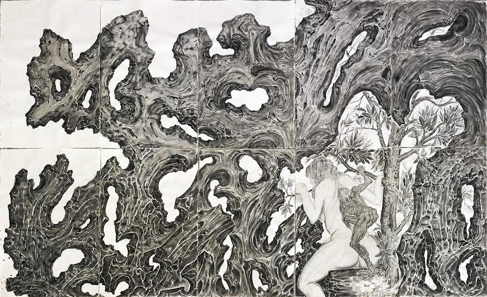 《假山画皮》Painted Skin Amidst Rockery 2017 纸本水墨 Ink wash on paper 196×325 cm