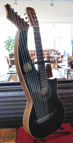Black thinline harp guitar