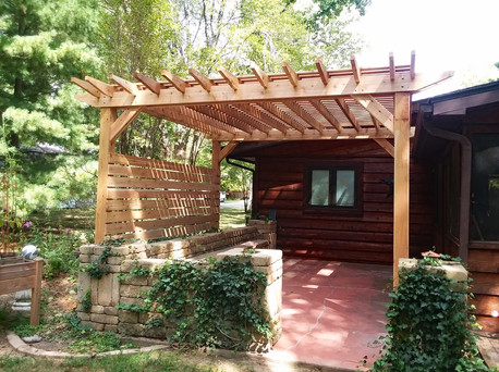 Custom rough sawn cedar pergola