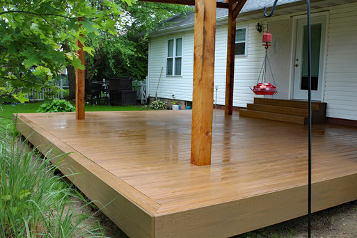 Deck rebuild with custom cedar pergola