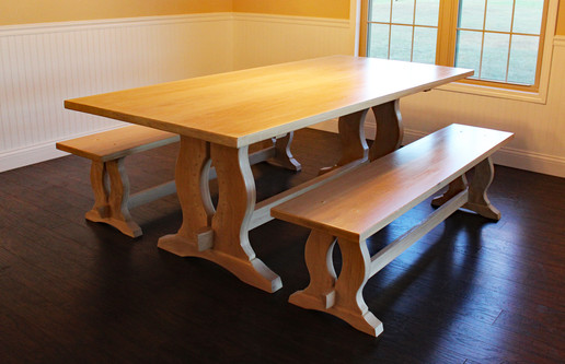 White oak dining table with benches