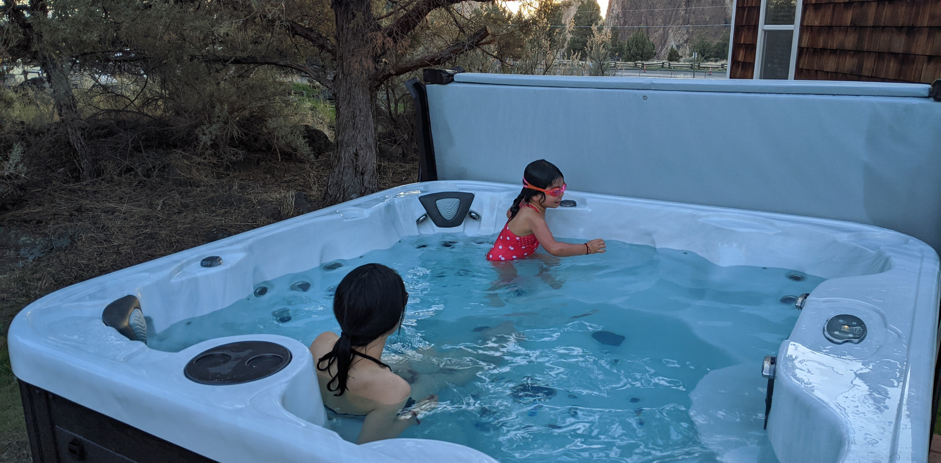7-person hot tub, looking west